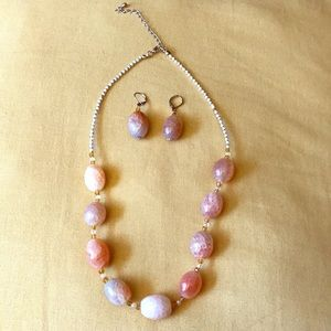 Stone Multi-toned Beaded Necklace and Earrings Set